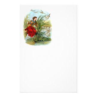 Vintage Lady With Swans Stationery