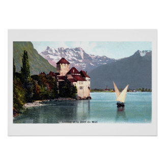 Vintage Lake Geneva Chillon Castle Poster