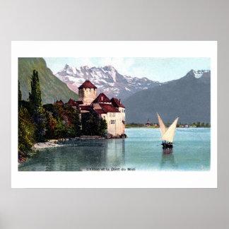 Vintage Lake Geneva Chillon Castle Poster