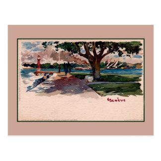 Vintage (Lake) Geneva litho watercolor Postcard