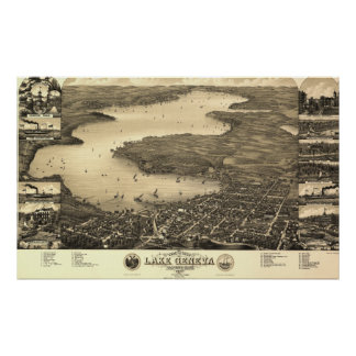 Vintage Lake Geneva Map Poster