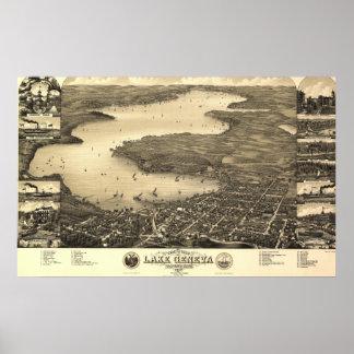 Vintage Lake Geneva Map Poster