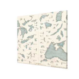 Vintage Lakes of The World Map (1860) Canvas Print