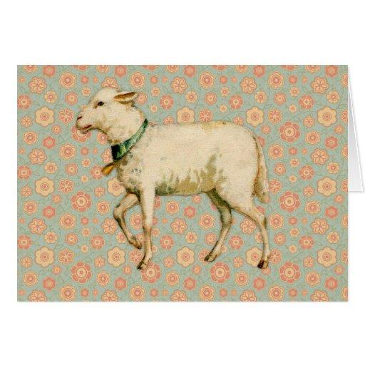 Vintage Lamb Art Greeting Card