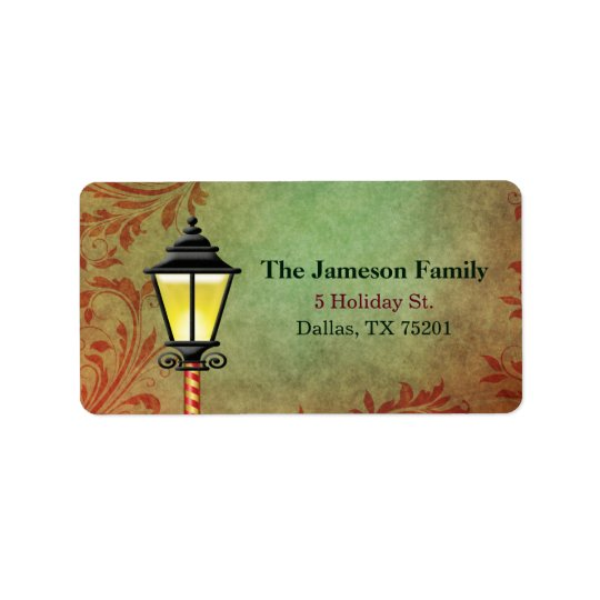Vintage Lamp Post Holiday Address Label