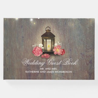 Vintage Lantern Rustic Wood Barn Wedding Guest Book