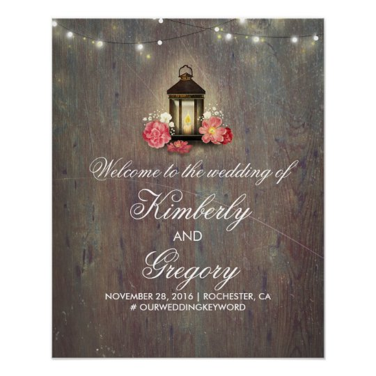 Vintage Lantern Rustic Wood Wedding Welcome Sign