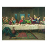Vintage Last Supper with Jesus Christ and Apostles Poster