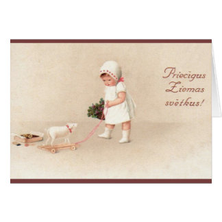 Vintage Latvian Christmas Greeting Card
