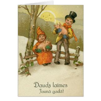 Vintage Latvian Pigs New Year Greeting Card
