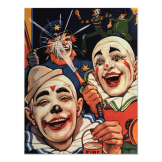 """Vintage Laughing Circus Clowns Birthday Party 4.25"""" X 5.5"""" Invitation Card"""