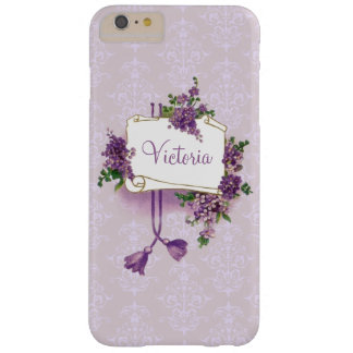 Vintage Lavender and Parchment Personalized Barely There iPhone 6 Plus Case