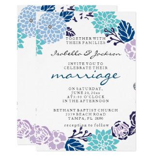 Vintage Lavender & Blue Garden Wreath Wedding Card