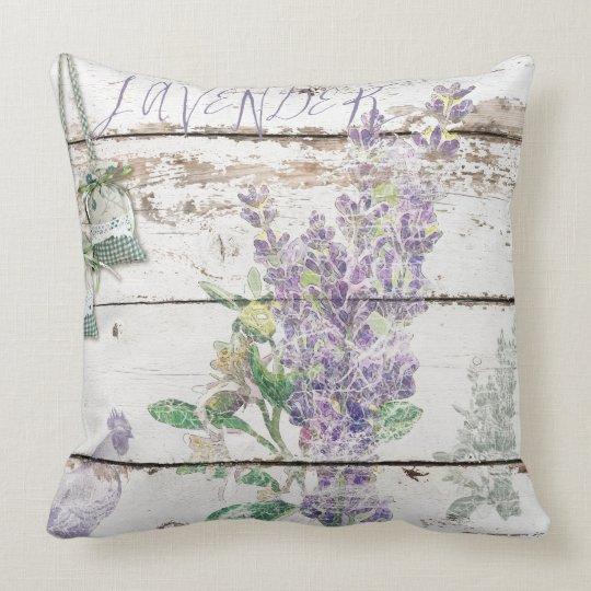 """Vintage Lavender Cotton Throw Pillow 20"""" x 20"""""""