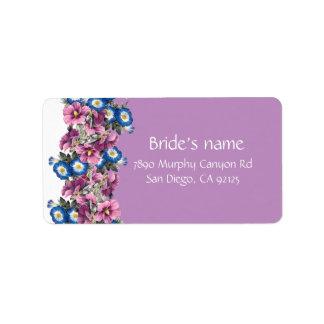 Vintage Lavender Garden Flowers Address Label