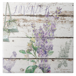Vintage Lavender Large Ceramic Photo Tile