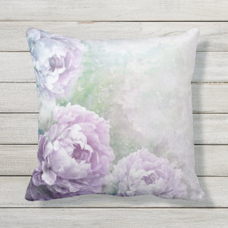 Vintage Lavender Roses Outdoor Pillow