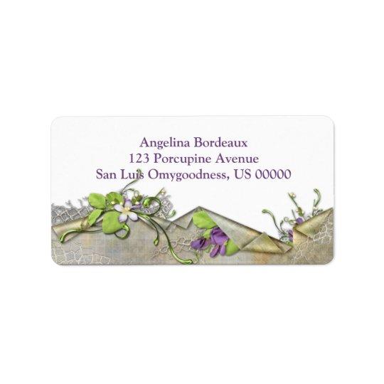 Vintage Lavender Sweet Peas Label