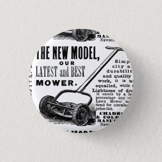 Vintage lawn mower advert 1 inch round button