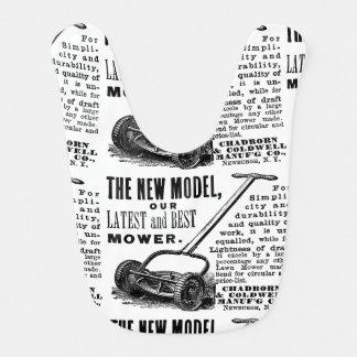 Vintage lawn mower advert bib