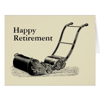 VINTAGE Lawn Mower Happy Retirement Big Greeting Card