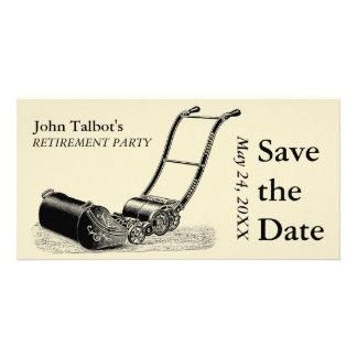 VINTAGE Lawn Mower Retirement Party Save the Date Picture Card