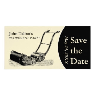 VINTAGE LawnMower Retirement Party Save the Date 2 Personalized Photo Card