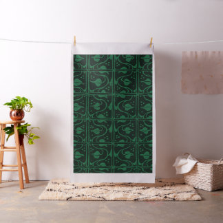 Vintage Leaf and Vines Forest Green Fabric
