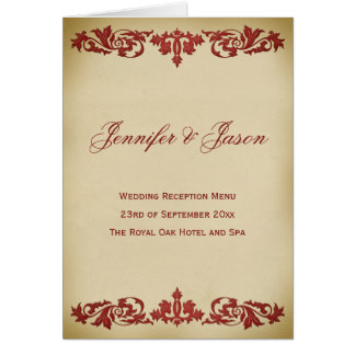 Vintage Leaf Scroll Style Wedding Menu in Burgundy Greeting Card