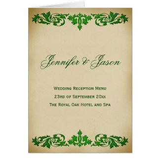 Vintage Leaf Scroll Style Wedding Menu in Green Greeting Card