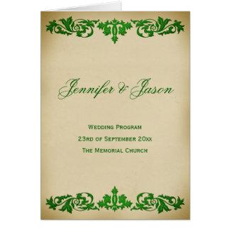 Vintage Leaf Scroll Wedding Program in Green Greeting Card