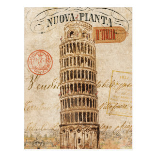 Vintage Leaning Tower of Pisa Postcard