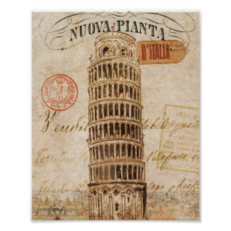 Vintage Leaning Tower of Pisa Poster
