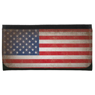 Vintage Leather American Flag Leather Wallet