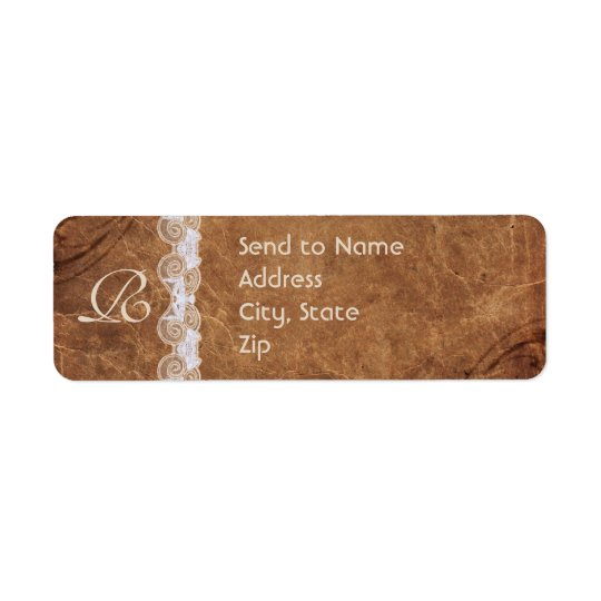 Vintage Leather and Lace Monogram Address Label