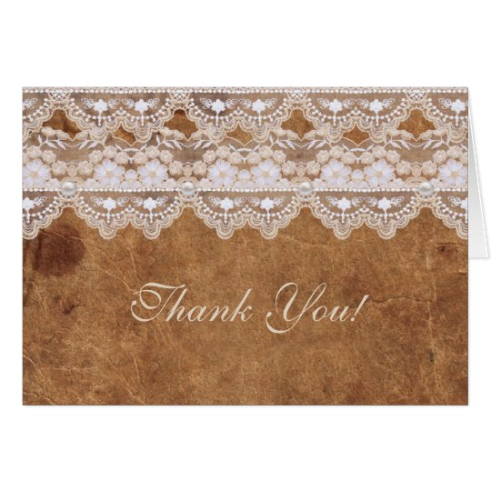 Vintage Leather and Lace Thank You Card