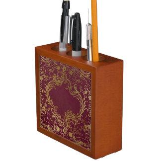 Vintage Leather Bound Book Desk Organizer