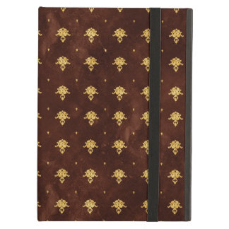 Vintage Leather Brown and Gold Damask Pattern Case For iPad Air