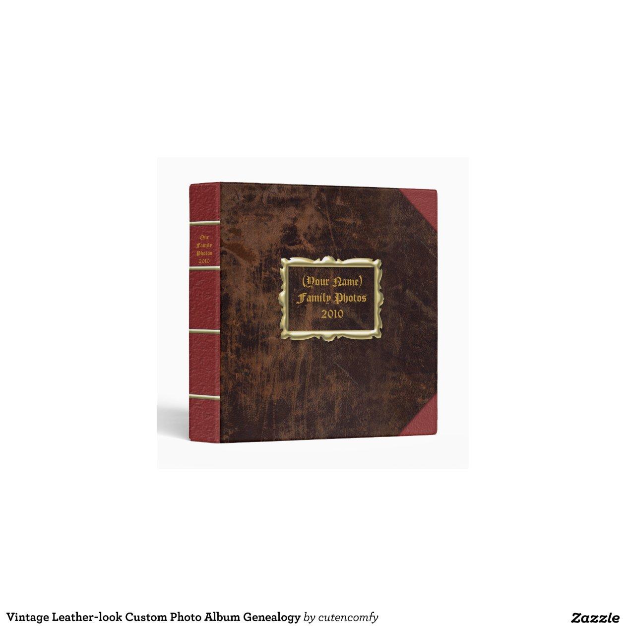 Vintage leather look custom photo album genealogy vinyl for Ka che vintage look