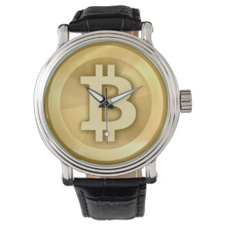 Vintage Leather Strap Bitcoin Watch