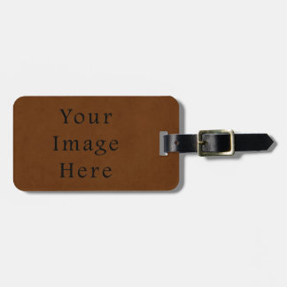 Vintage Leather Tanned Brown Parchment Paper Luggage Tag