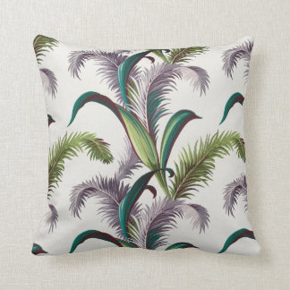 Vintage Leaves Barkcloth Throw Pillow