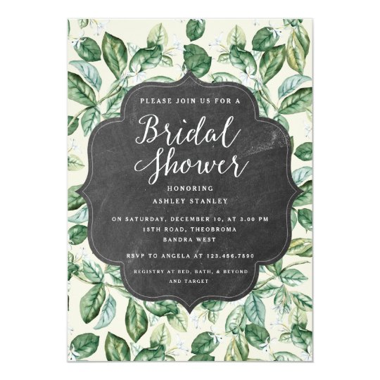Vintage Leaves Chalkboard Bridal Shower Invitation