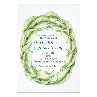 Vintage Leaves Tropical Chic Wedding Invitations