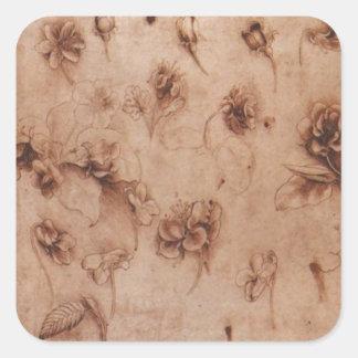 Vintage Leonardi Da Vinci Flowers Sticker