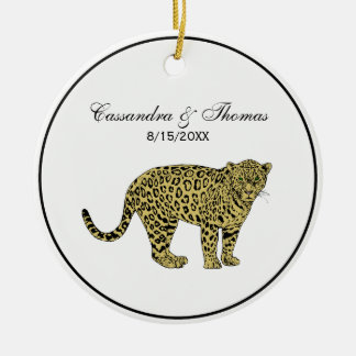 Vintage Leopard Cheetah Spotted Cat Drawing Ceramic Ornament