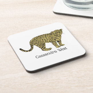 Vintage Leopard Cheetah Spotted Cat Drawing Coaster