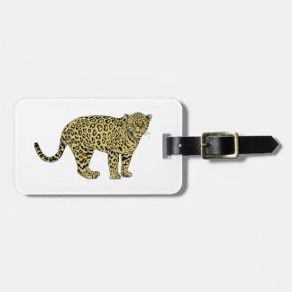 Vintage Leopard Cheetah Spotted Cat Drawing Luggage Tag
