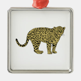 Vintage Leopard Cheetah Spotted Cat Drawing Metal Ornament