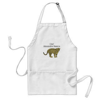 Vintage Leopard Cheetah Spotted Cat Drawing Standard Apron